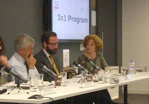 Centre: HE Diego Gomez Pickering. Right: Dr Covadonga Meseguer at  the ODI public event.