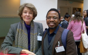 Legendary Scholar and activist Susan George and TGN's policy director Mbongeni Ngulube at the ISS Food Sovereignty Conference, The Hague