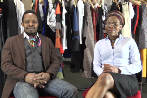 Mbongeni Ngulube, Policy director and Na Ncube, exec director of The Global Native give an interview at the official launch of Turning Matabeleland Green in Leeds.
